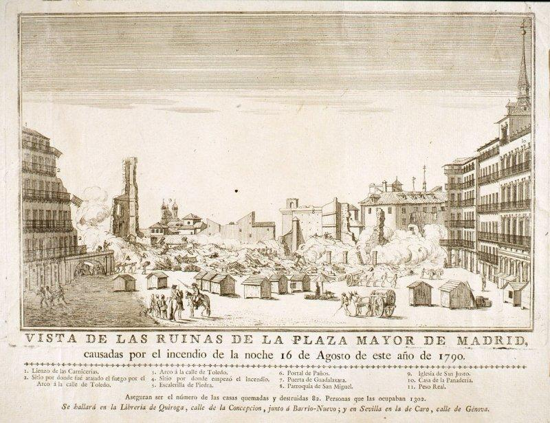 El incendio de la Plaza Mayor de 1791