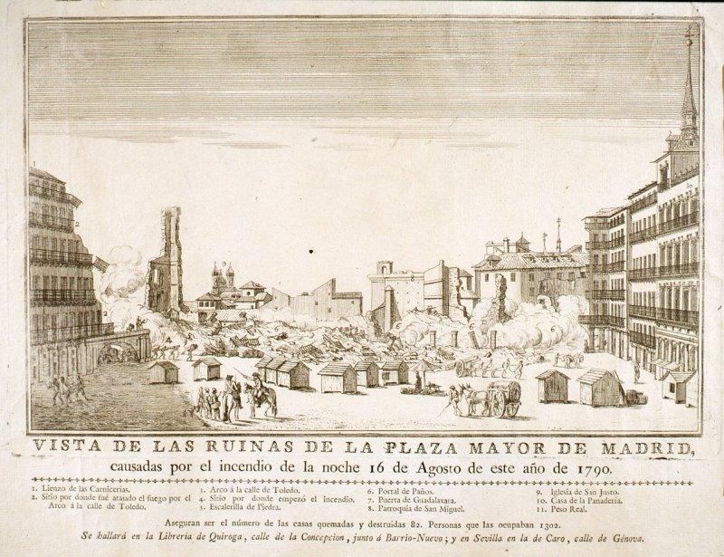 Incendio en la Plaza Mayor de Madrid